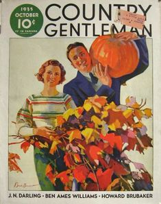 1935 Country Gentleman Cover ~ F. Sands Brunner ~ Pumpkin Couple, Vintage Magazine Covers