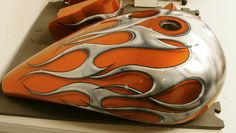 Gas Tank Orange Candy with Beveled Tribal Flame