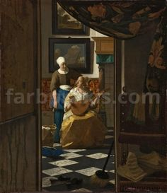 """Johannes Vermeer, """"The Love Letter,"""" c. oil on canvas, Rijksmuseum, purchased with the support of Vereniging Rembrandt Johannes Vermeer, Canvas Letters, Canvas Art, Canvas Prints, Art Prints, Vermeer Paintings, List Of Paintings, Oil Paintings, Fra Angelico"""