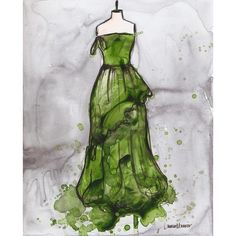 Original - Watercolor and Ink Painting - Vintage Dress Painting -... ($100) ❤ liked on Polyvore
