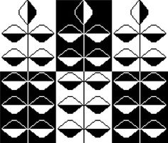 Contemporary negative/positive silhouette cross stitch pattern. Mid century modern inspired stems of leaves monochrome design. (5.00 GBP) by crossstitchtheline