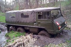 My husband gets stuck also. Van 4x4, Tactical Truck, Army History, Off Road Camping, Amphibious Vehicle, Old Campers, Steyr, Army Vehicles, Expedition Vehicle