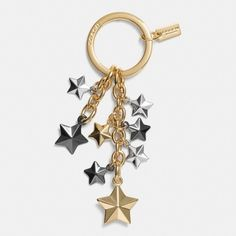 "NWT Coach Key Ring Stars Multi Mix Priced to Sell!!! Price is Firm!  Adorable Key ring from Coach.  Brand New. Plated Metal.  1 1/4"" key ring. Coach Accessories Key & Card Holders"