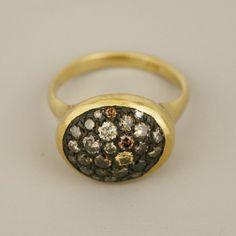 SATOMI KAWAKITA 18K YELLOW GOLD, COGNAC DIAMONDS $3,500.00