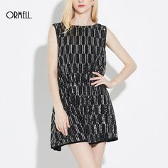 ORMELL Fashion Sexy Backless Geometric Pattern Glitters O Neck Sleeveless Dress Party Dresses #Backless #party #dress