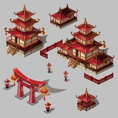 set of architectural elements in Oriental style. Pagoda house and gate black and red color.A set of architectural elements in Oriental style. Pagoda house and gate black and red color. Architecture Antique, Architecture Résidentielle, Cultural Architecture, Japanese Architecture, Futuristic Architecture, Ancient Chinese Architecture, Japanese Temple, Japanese House, Japanese Style