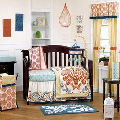 Blue and Orange Abstract Geometric Baby Girl 5pc Unique Nursery Crib Bedding Set | eBay