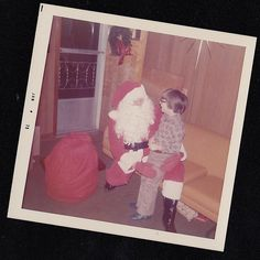 Vintage Photograph Little Boy at Christmas Time with Santa Claus 1973