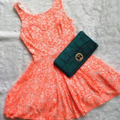 """Guess Neon Skater Dress w/ Back Cut Out Ready for fun! Neon orange lace over cream, two zippers in the back, excellent condition! Bust: 14 1/2"""", Waist: 12"""", Length: 31"""". Guess Dresses"""