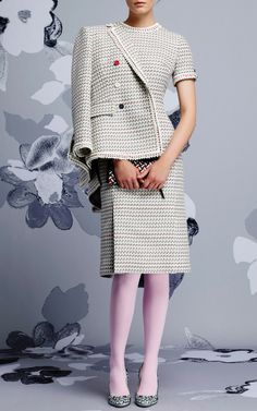 Db Nipped Waist In Light Grey Graphic Weave Tweed Jacquard by Thom Browne for Preorder on Moda Operandi