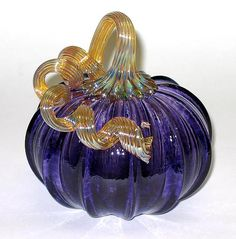 Purple Pumpkin by Ken Hanson and Ingrid Hanson: Art Glass Sculpture available at www.artfulhome.com