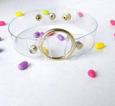 O ring choker gold chocker 90s style choker pastel by YPSILONBAGS