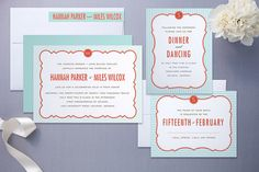simple and sweet red and blue stationery