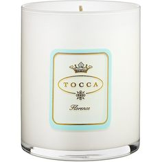 Tocca Beauty Scented Candle - Florence (700 MXN) ❤ liked on Polyvore featuring home, home decor, candles & candleholders, fillers, candles, magazine, tocca candles, apple candle, flower candle and pear scented candles