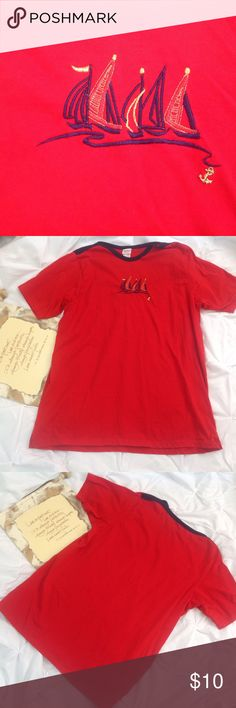 "Bobbie Brook Red Short Sleeve T-Shirt 26/28W NWOT NWOT. Bobbie Brook red t-shirt with embroidered boat design and blue trimmed neckline. Perfect summer top or anytime your by the water. The length would also make this a great swimsuit coverup. Lying flat, approximate measurements are: width 26""; shoulder to hem 34"". (E0323-040) Tops Tees - Short Sleeve"