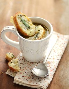 Onion and sage soup with cheddar toasts