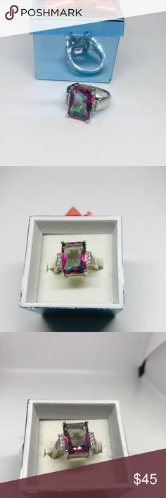 Pear Shape Pink Fire Opal /& Cubic Zirconia .925 Sterling Silver Ring Sizes 6-8
