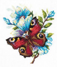 Cross stitch kit Peacock butterfly - Chudo Igla (Magic Needle) > Chudo Igla (Magic Needle) > Cross stitch kits > The Stitch Company Cross Stitching, Cross Stitch Embroidery, Cross Stitch Patterns, Peacock Butterfly, Butterfly Cross Stitch, Hand Embroidery Kits, Cross Crafts, Counted Cross Stitch Kits, Pansies