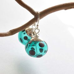 Teal Polka Dot Earrings Hollow Light Weight Dangle by bstrung, $28.00