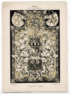 ART NOUVEAU Litho DEKORATIVE VORBILDER 1892 WAPPEN German Renaissance   eBay