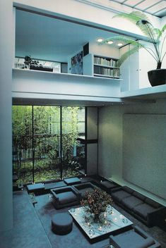 Dramatic void in the living room of the Halston house in NY by Paul Rudolph.