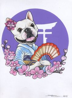 Japan Frenchie sketch , sketchbook , french bulldog , dog , kawaii , cherry blossom