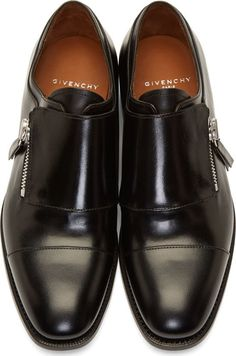 Givenchy Black Leather Zipped Monk Strap Shoes