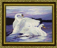 Swans - cross stitch pattern designed by Dyan Allaire. Category: Waterfowl.