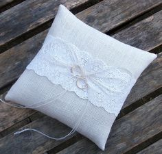 White Burlap Ring Bearer Pillow/Cushion with  Broderie Anglaise White Lace Trim W1. $29.00, via Etsy.