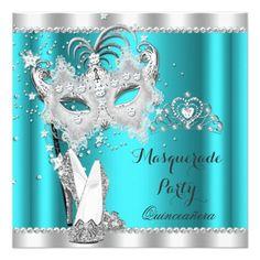 Teal Masquerade Quinceanera Mask Hi Heels 2 Invitation Sweet 16 Masquerade, Masquerade Theme, Mint Quinceanera Dresses, Quinceanera Party, Masquerade Party Invitations, Quinceanera Invitations, 50th Birthday Party, Birthday Party Invitations, Sweet 16 Parties