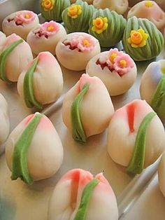 "Japanese Sweets, ""wagashi"", tulips"