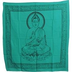 Buddha Indian Cotton Yoga Meditation Prayer Altar Cloth 40 x 40 Turquoise * Find out more about the great product at the image link.