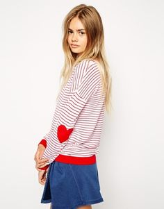 Enlarge ASOS Stripe Jumper With Heart Elbow Patch