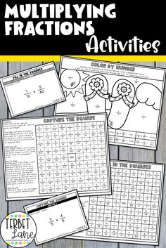 This printable multiplying fractions game packet is a fun way to practice new math skills or review past lessons. Each activity gives students valuable practice multiplying fractions while playing engaging games and activities. This set is great for math centers, early finishers, or take home packets. Multiplying Fractions Game, Simplifying Fractions, Teaching Multiplication, Spring Activities, Learning Activities, Classroom Resources, Teacher Resources, Fourth Grade, Third Grade