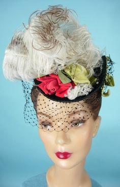 "c. 1940's GEORGE BEIGEL, Paris, New York Black Felt ""Toy"" (""Tilt"") Hat with Feathers, Velvet Ribbons and Flowers!"