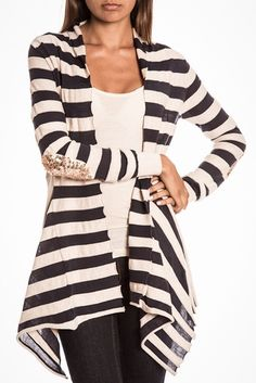 Striped Cascade Sweater with Sequin Elbow Patches
