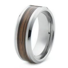 8mm Tungsten Wedding Band Ring With Wood Inlay - Comfort Fit on Etsy, $95.00