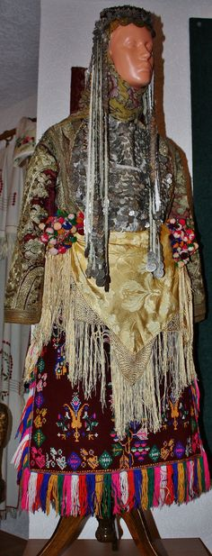 Traditional bridal/festive costume from Macedonia, early 20th century. On exhibit in the 'Museum of Macedonian Ethno Culture', in Podmocani (near Resen, southwestern Macedonia).