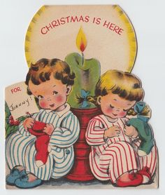 Vintage Greeting Card Christmas Children Candle Pajamas Die-Cut Norcross e582