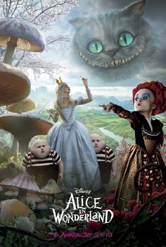 Alice in Wonderland (ver:B) USA, 2010 Director: Tim Burton Starring: Mia Wasikowska, Johnny Depp, Helena Bonham Carter This 3 page side) chirashi folds out to a beautiful 3 x panoramic poster. Mia Wasikowska, Lewis Carroll, Adventures In Wonderland, Alice In Wonderland, Film Tim Burton, Walt Disney, Chesire Cat, Best Movie Posters, Helena Bonham Carter