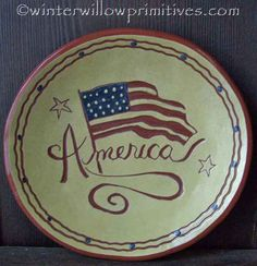 America w/Flag Plate Fourth Of July Decor, 4th Of July, Patriotic Decorations, Christmas Decorations, American Flag, American Pride, Penny Rugs, Red White Blue, Memorial Day