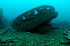 """Sherman tanks lie on the sea floor off the coast of Donegal, Ireland. """"the S.S. Empire Heritage, a cargo ship which had been carrying dozens of Sherman Tanks when it was torpedoed and sank in 1944 with the loss of 113 lives"""" according to http://www.marine.ie/home/aboutus/newsroom/news/NewTechnologyShinesLightonDonegalShipwrecks.htm"""