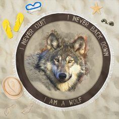 I Am A Wolf Beach Blanket