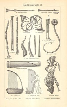 1905 Musical Instruments Wind and String by CabinetOfTreasures