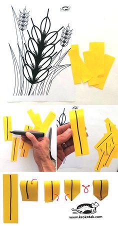 krokotak | WHEAT KIDS CRAFT Fall Arts And Crafts, Fall Crafts For Kids, Craft Activities For Kids, Spring Crafts, Preschool Crafts, Art For Kids, Bible Crafts, Paper Crafts, Harvest Crafts