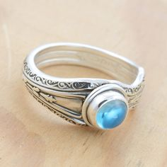 Spoon Ring with Blue Topaz Upcycled Sterling by metalsmitten, $75.00