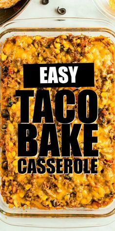If you love Taco Tuesday, try this easy taco bake. It's a fun twist on traditional tacos. Soft flour tortillas are layered in a casserole dish with ground beef, seasoning and plenty of cheese. You'll be rewarded with a bubbling, cheesy Tex-Mex casserole. Easy Taco Bake, Easy Taco Casserole, Taco Casserole With Tortillas, Tortilla Taco Bake, Dorito Taco Bake, Doritos, Seafood Recipes, Mexican Food Recipes, Cooking Recipes