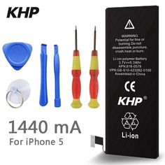 100% Original Brand KHP Phone Battery For iphone 5 5G Real Capacity 1440mAh With Machine Tools Kit Mobile Batteries