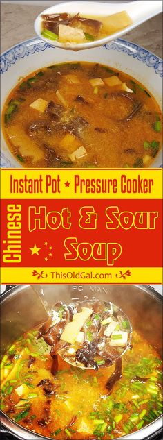 Vegetarian Pressure Cooker Chinese Hot and Sour Soup is Gluten Free, Low Fat, Low Carb, super healthy and will clear your sinuses! via @thisoldgalcooks