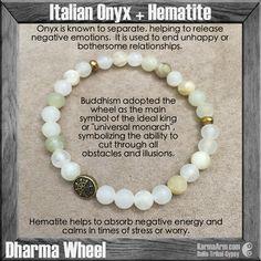 DHARMA WHEEL COLLECTION: Italian Onyx + Hematite Yoga Mala Bead Bracelet